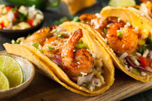 Homemade Spicy Shrimp Tacos with Coleslaw and Salsa