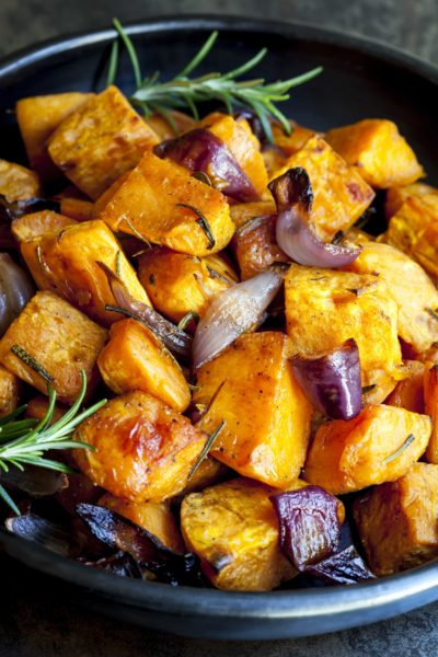 Roasted Sweet Potato with Red Onion and Rosemary